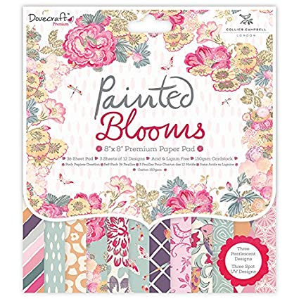 """Dovecraft Paper Pad 8/"""" x 8/"""" FREE POSTAGE Painted Blooms"""