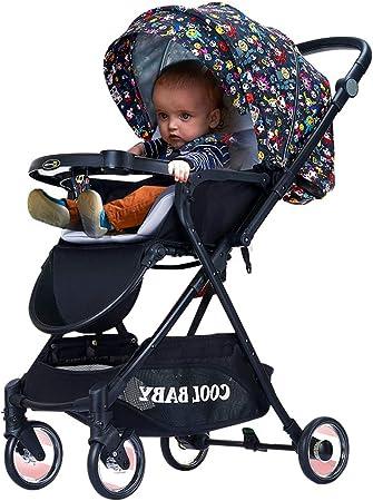 Opinión sobre Cochecito de bebé 2 en 1 que puede sentarse o acostarse, cochecito de viaje portátil, cochecito de 7,2 kg, plegable, ligero, portátil con una sola mano, ajustable, ruedas universales de 360 °, ces