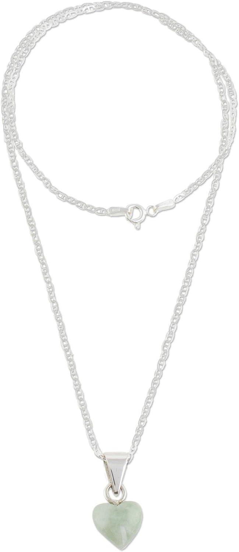 "NOVICA Jade .925 Sterling Silver Heart Shaped Necklace, 18"", Apple Green Symbol of Love'"