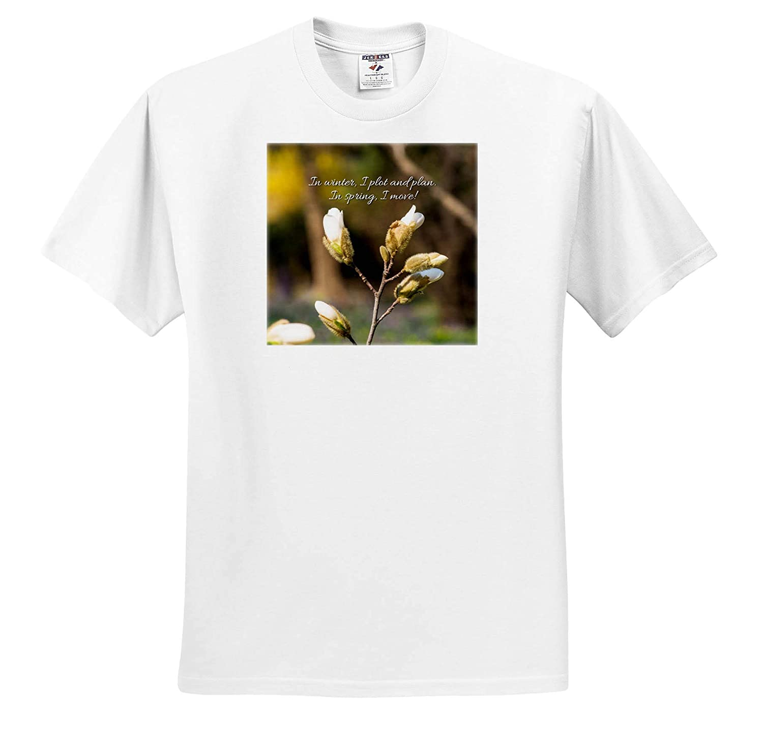 Sayings About Spring in Winter T-Shirts 3dRose Alexis Design Magnolia Tree Buds in Spring I plot and Plan I Move