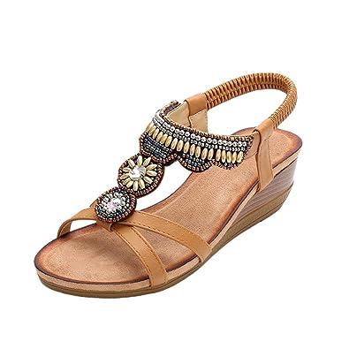 Compensées De Zengbang Sandales Chaussures Rétro Perlé Femme Ethnique Strass Talon Style JTclFK31