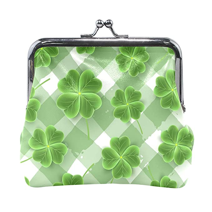 90336ea02aa4 Plaid Pattern Of Clover Leaves Pouch Small Wallet - Kiss-lock Change ...