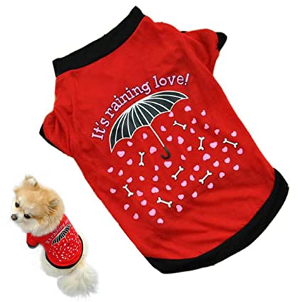 Amazon.com : PETFDH New Summer Pet Puppy Small Cat Pet Clothes Vest Raindrop Style T Shirt Apparel Hot Mascotas Ropa Perros Dog Clothes Red L : Pet Supplies