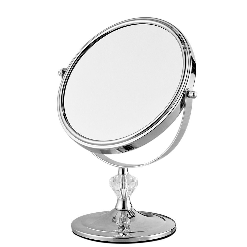 GF Wood Desktop Makeup Mirror Stand For Makeup Magnifying 3X Table Mirrors Round Double Sided Mirror 7Inch Silver Vanity Metal