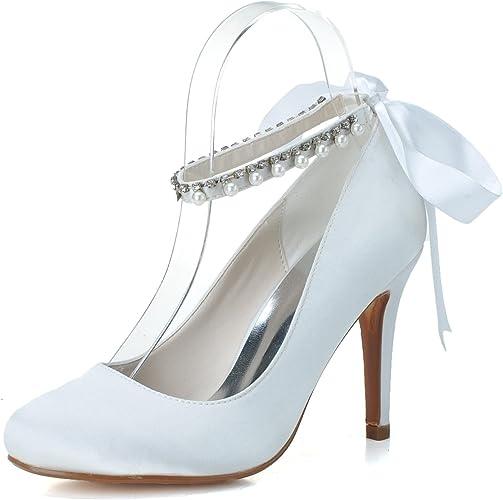 Elobaby Chaussures de Mariage pour Femmes Talons Hauts Prom