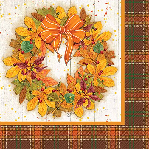 Ideal Home Range 3-Ply Paper Beverage/Cocktail Napkins, 20-Count, 5 x 5-Inches Folded, Fall Wreath