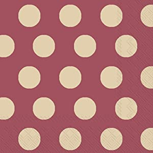 Ideal Home Range 20-Count Big Dots 3-Ply Paper Cocktail Napkins, Maroon and Gold