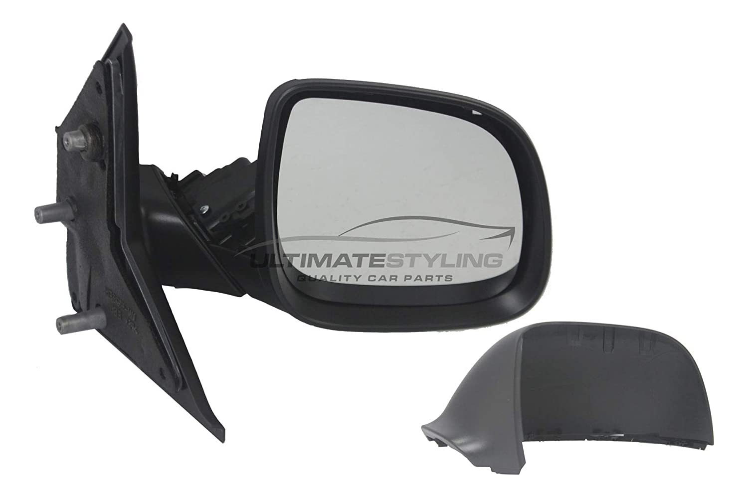 RH Ultimate Styling Replacement Manual None Power Folding Wing Door Mirror With Non-Heated Glass With Black Mirror Cover Cap Side Of Product Drivers Side