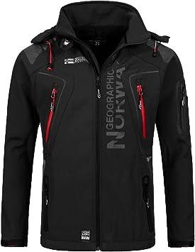 Geographical Norway Techno - Chaqueta flexible para hombre, con capucha desmontable, Hombre, color Negro , tamaño small
