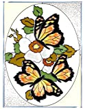 Three Butterflies Yellow Red Art Glass Panel Wall Window Hanging Suncatcher 14 x 10