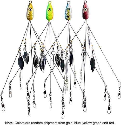 5 Arms 4 Blades Umbrella Alabama Rig for Bass Crappie Lure Fishing Bait 18g