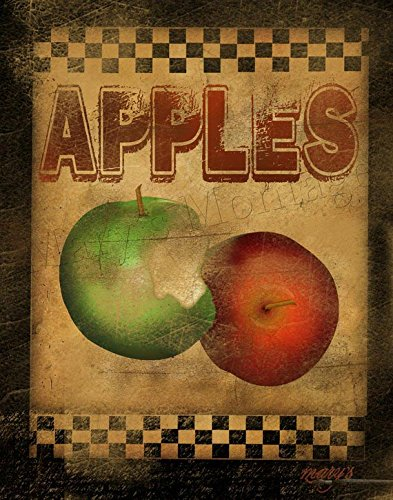 Apples for Sale 11x14 Stretched Canvas Folk Art Print Country Kitchen Decor Food Fruit Wall (Folk Art Fruit)