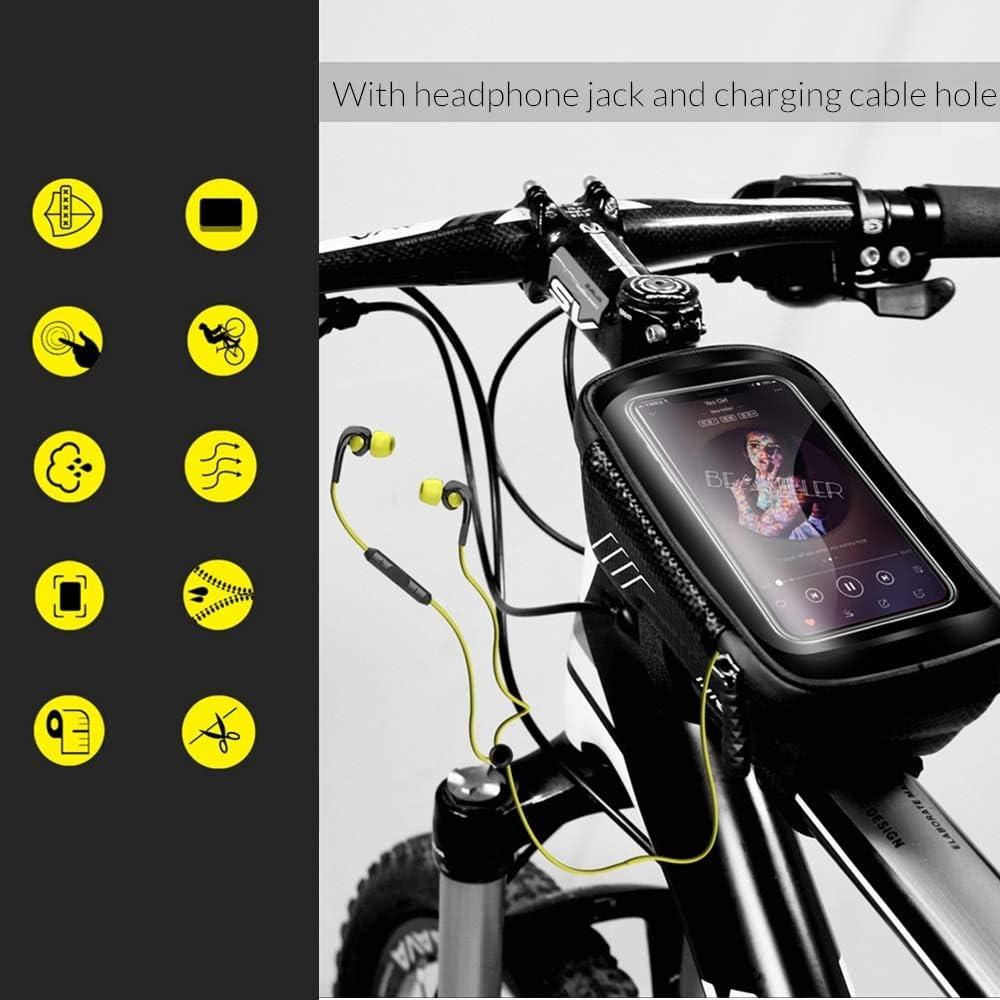 Niluoya Bolsa de Movil Bicicleta Manillar para Tel/éfono Inteligente por Debajo de 6,5 Pulgadas Soporte Impermeable Accesorios Bicletas Porta Bike Monta/ña Frame Bag T/áctil de Tubo Superior Delantero