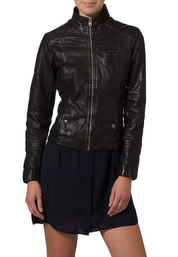 Women Leather Moto jacket Cycle Bomber Biker Outwear KLW146