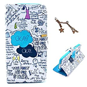 Uming Retro Colorful Pattern Print Leather case for Apple Iphone 5S 5G 5 IPhone5 IPhone5S SE IPhoneSE Apple5S PU Flip Leather Holster with Stand Stander Holder Hand Free Credit Card Slot Wallet Hasp Magnet Magnetic Button Buckle Shell Protective Mobile Cell Phone Case Cover Bag + 1 x Anti Dust Plug - Okay Graffiti