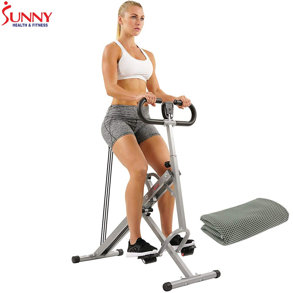 Sunny Health and Fitness Upright Squat Assist Row-N-Ride Trainer w/Workout Cooling Towel (Grey)