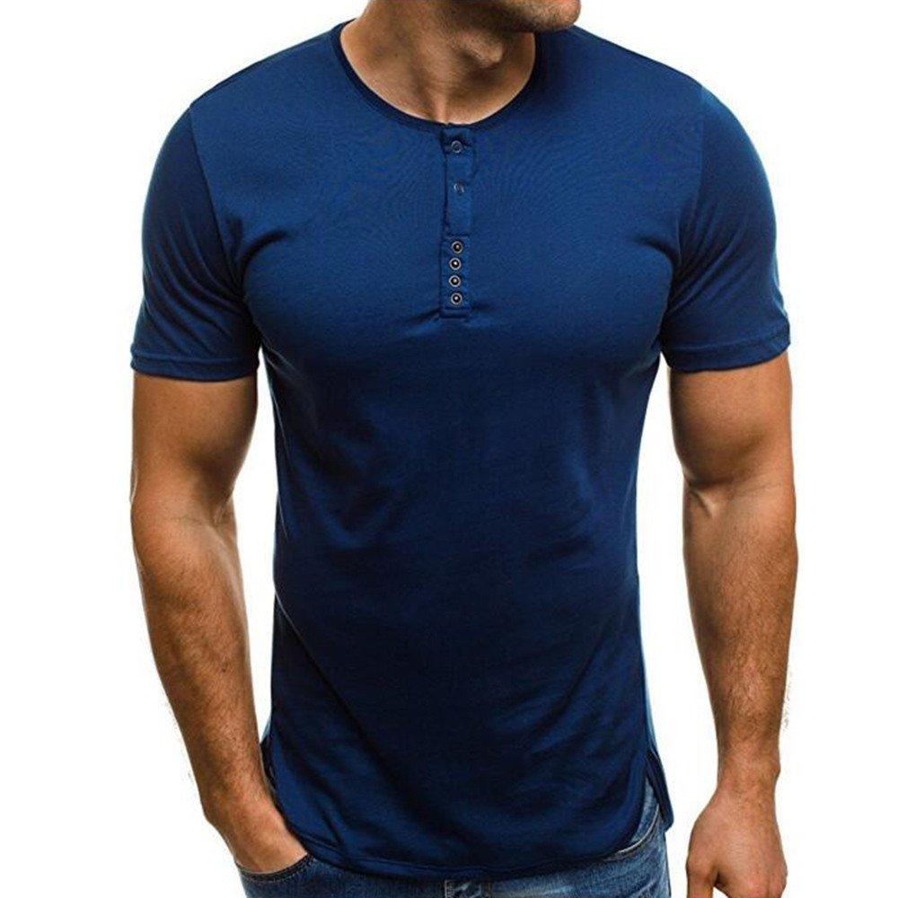 JUTOO 2019 Moda Hombre Sujetador de Verano Relajación Color Puro Cuello Redondo Camiseta Blusa: Amazon.es: Ropa y accesorios