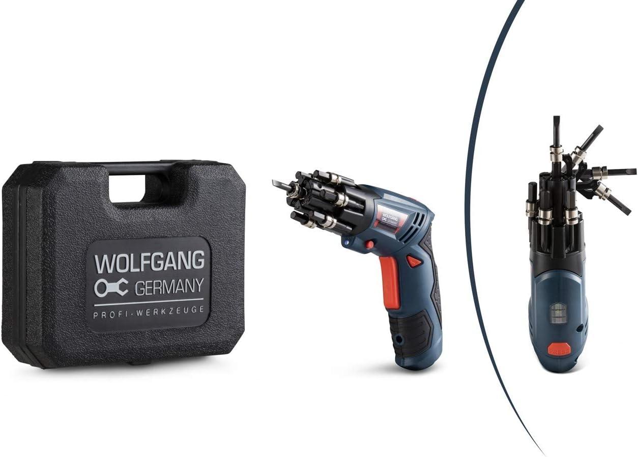 WOLFGANG Mini Destornillador Inalámbrico 3.6V, Taladro Atornillador pequeño con Juego de 27 Puntas y Accesorios, Batería de Ion litio 1500 mAh, carga rápida 1H, Asa giratoria de 90°
