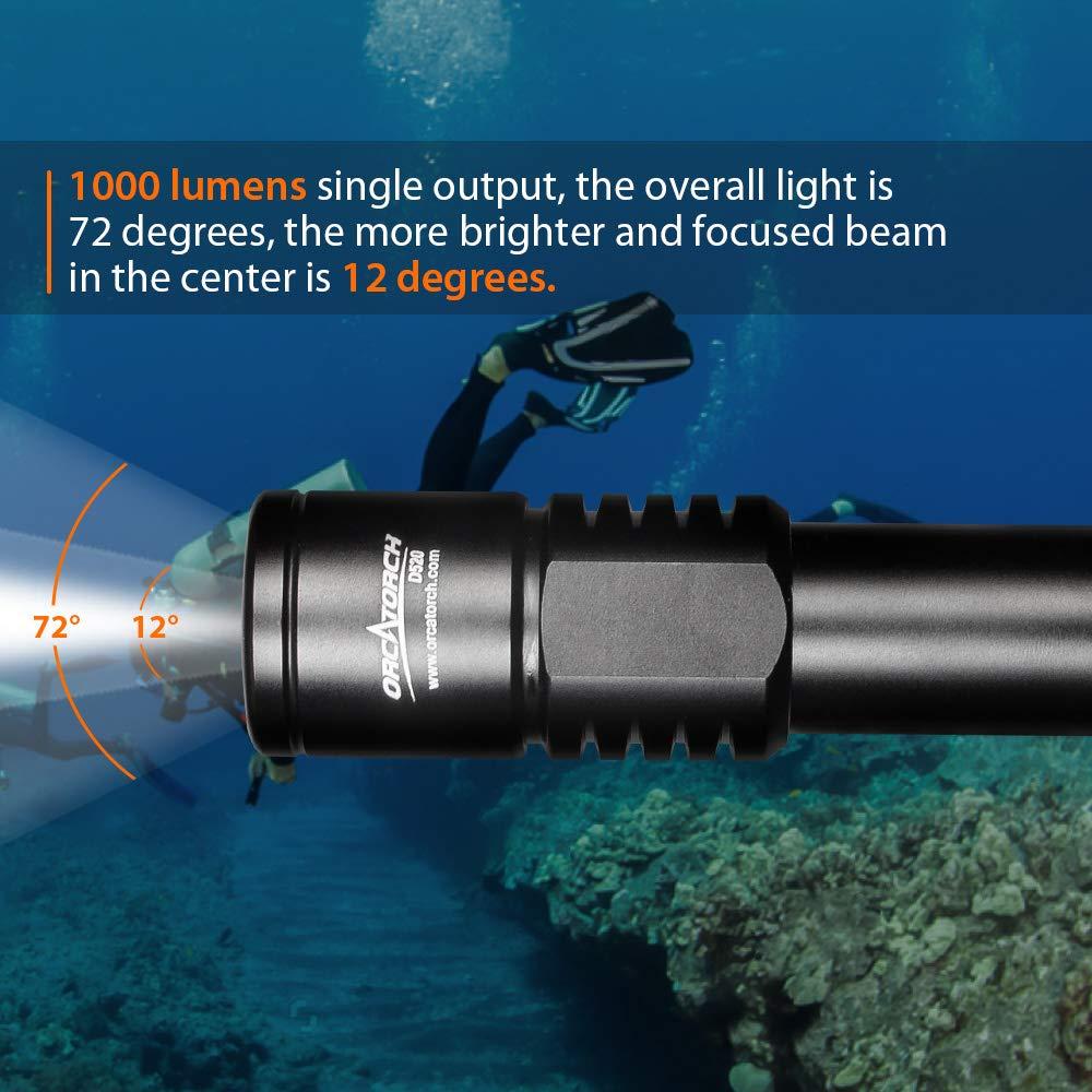 Amazon.com: orcatorch D520 linterna de buceo Luz 1000 ...