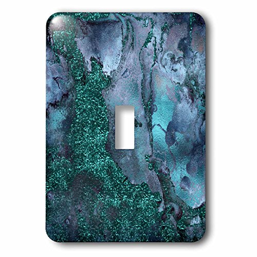 Boheme Jewels (3dRose Uta Naumann Luxury Gemstone Marble Background - Blue and Teal Ombre Gemstone Ink Glitter Marble - Light Switch Covers - single toggle switch (lsp_265468_1))