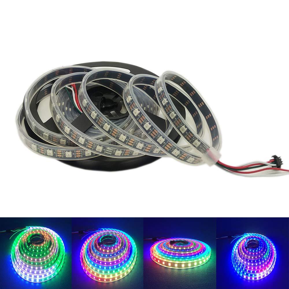 PCB Black HKBAYI 5m 16.4FT 150led WS2812B Full Color LED strip 150 LED 150 pixels Not waterproof Individually Addressable Dream Color led strip