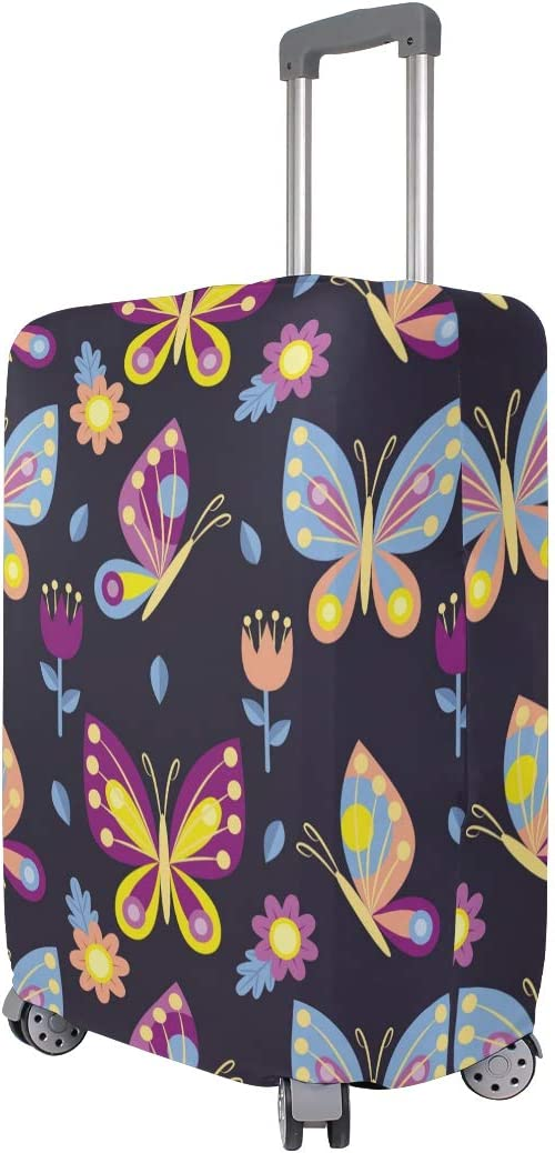 Baggage Covers Colorful Butterflies Flowers Pattern Washable Protective Case