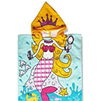 SunFuture Kids Hooded Poncho Towel,Baby Girls Boys Cotton Soft Absorbent Beach Bath Towels for Age 1-8 Years 24 x 48 Inch,Blue Mermaid,Breathable Cover-ups Cape for Bath/Shower/Pool