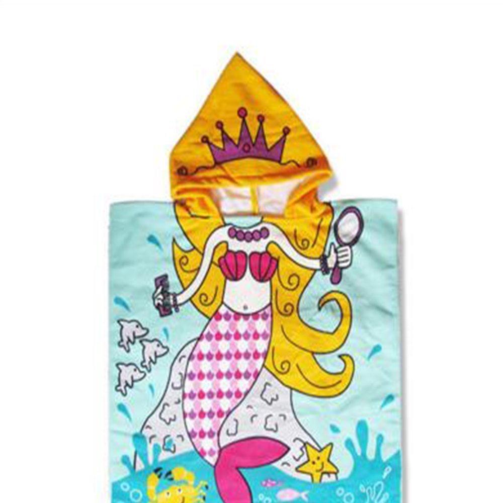 CCMART Mermaid Princess Kids poncho con cappuccio asciugamano da bagno telo mare 60x 120cm asciugatura rapida