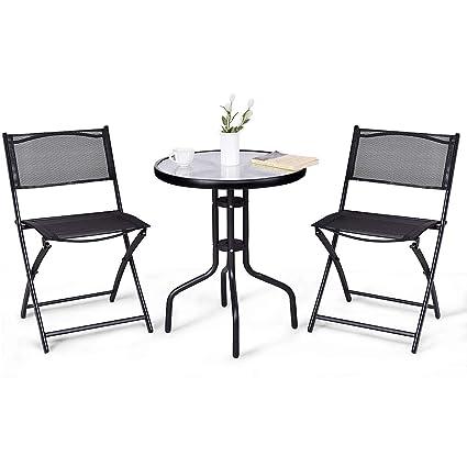 Amazoncom Giantex Pcs Bistro Set Garden Backyard Round Table - Metal folding patio table and chairs