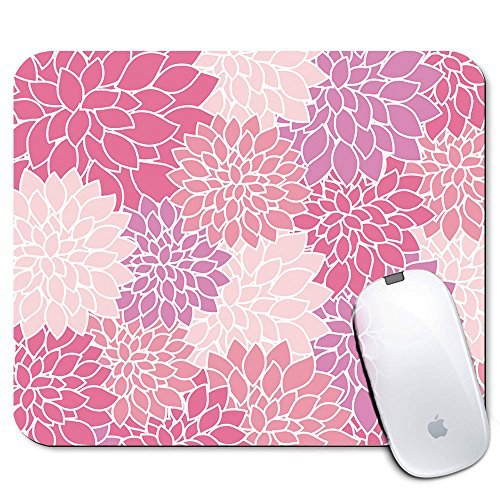 (Personalized Rectangle Mouse Pad, Printed Pink Flower Pattern, Non-Slip Rubber Comfortable Customized Computer Mouse Pad (9.45x7.87inch))