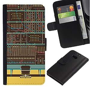 KLONGSHOP // Tirón de la caja Cartera de cuero con ranuras para tarjetas - Panel de control digital - HTC One M8 //