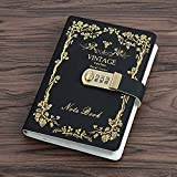 Sealei Combination Locking Journal Diary Password Journal Diary With Lock (Diary With Combination Lock) A5 (8.47 X 5.9 Inch) (Black)