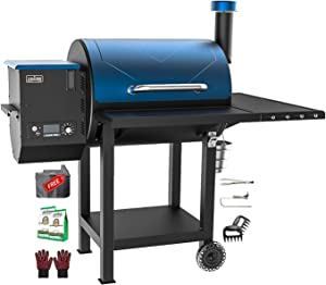 ASMOKE Electric Wood Fired Pellet Grill and Smoker, Pack of 6 Summer Best value BBQ Kit,700 sq in Cooking Area,8 in 1 Outdoor Cooker,PID Control Temperature 180℉to 500 ℉, Safe Certification