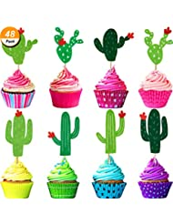 Maxdot 48 Pieces Cactus Cupcake Toppers for Cake Decorations Hawaii Party Favors Tropical Cacti Theme Summer Birthday Party Supplies
