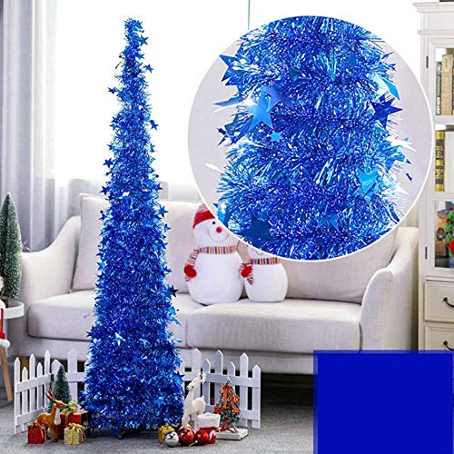 3.9ft Pop Up Christmas Tree, Collapsible Shiny Tinsel Xmas Tree with Reflective Sequins and Stand, Glittering Artificial Tree for Small Apartment Party Wedding Fireplace New Year Wedding Decoration Blue Green Silver Christmas Trees