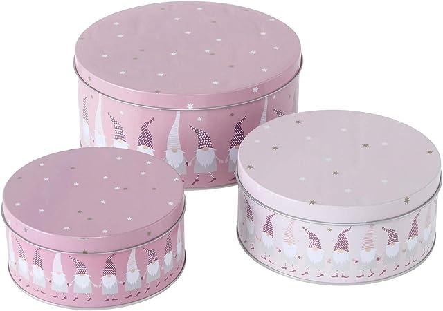 color rosa CasaJame Juego de 3 latas de metal para galletas 6-9 cm