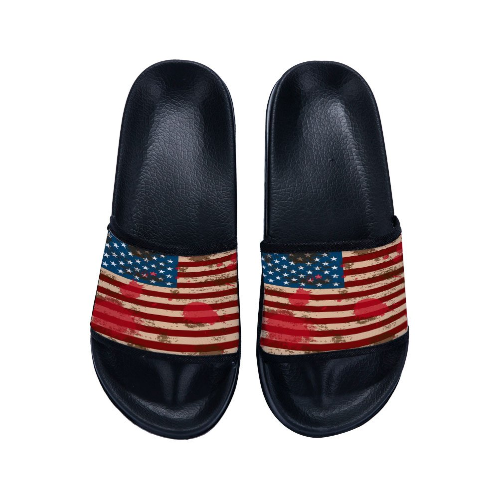 Eric Carl Boys Girls Shower Shoes Indoor Floor Slipper Anti-Slip Bath Slippers with American Flag