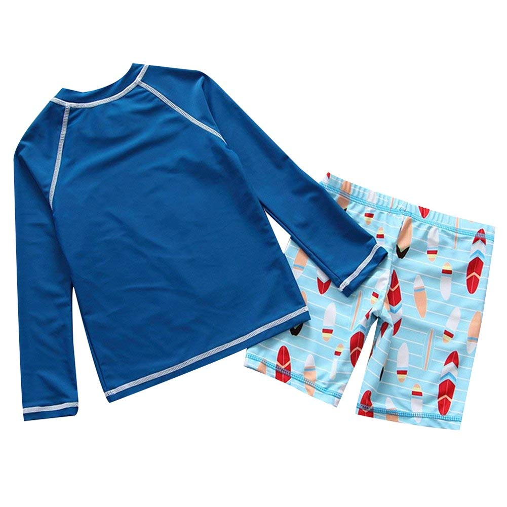 Boys Two Piece Rachguard Swimsuit Catoon Sun Protection Quick Dry Long Sleeve Sunsuit Outfits