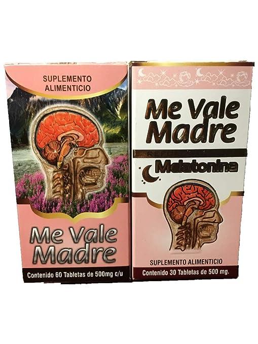Amazon.com: Me Vale Madre 60 Cap y Me vale Madre Melatonina 60 Cap. Headache Migraine & Stress, Dolor De Cabeza,estres (Charcoal mask Included): Health ...