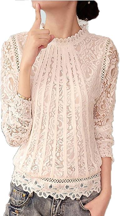Moda Camiseta Mujer Encaje Crochet Blusa Cuello Redondo Manga Larga T-Shirt Elegante Casual Slim Camisa Otoño y Primavera Blusa Pullover Top M-3XL: Amazon.es: Ropa y accesorios