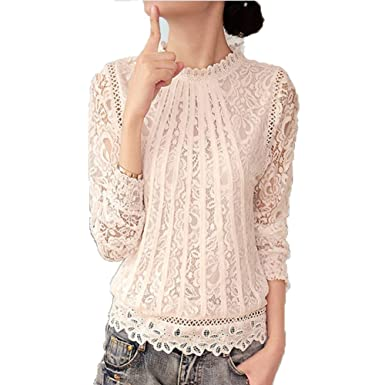 Lange Ärmel Shirt Damen - Mode Floral Bedruckt Rundhals Bluse Spitze ...