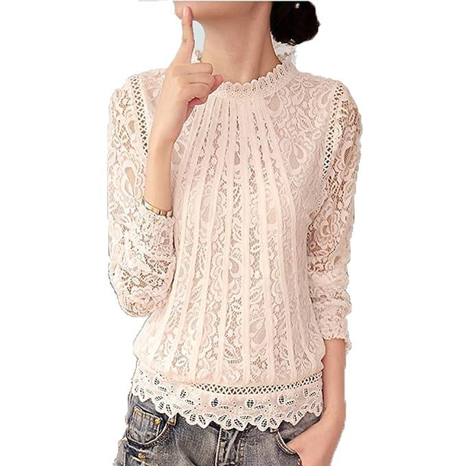 Juleya Moda Camiseta Mujer Encaje Crochet Blusa Cuello Redondo Manga Larga T-Shirt Elegante Casual