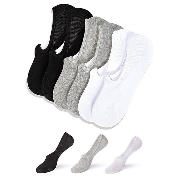 Wondder 2 Pares Invisibles Respirable Algodón Calcetines Hombre Calcetines Antideslizante Prevenir la Ampolla Calcetines Hombre Cortos Calcetines Barco (A): ...