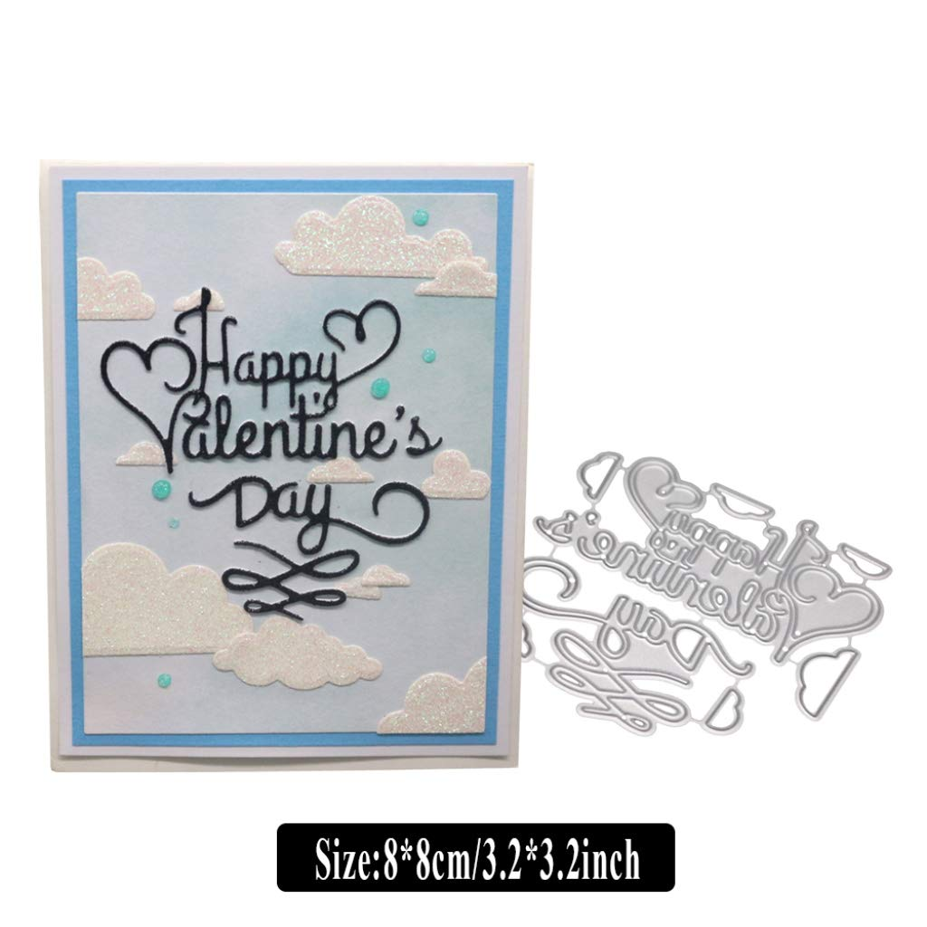 Happy Valentines Day Cutting Dies YESSKO Metal Die Cut Stencil Pattern Template Mould for Card Making DIY Embossing Scrapbooking Paper Birthday Festival Decor New