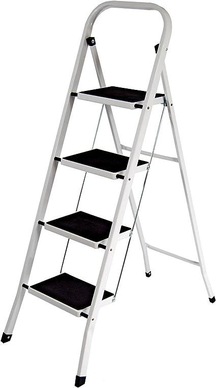 Sgabello scala scaletta 4 gradini pieghevole sicura antiscivolo uso domestico t4