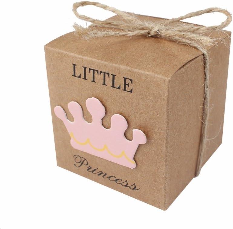 JZK 50 x Little Princess cajitas regalo papel kraft marrón cajas de detalle para niña baby shower fiesta cumpleaños bautizo niños fiesta recién nacida