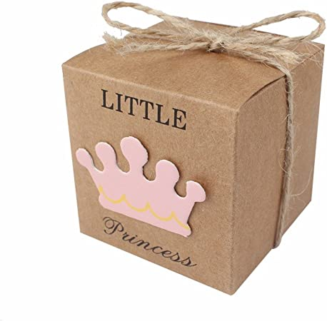 JZK 50 x Little Princess cajitas regalo papel kraft marrón cajas de detalle para niña baby shower fiesta cumpleaños bautizo niños fiesta recién nacida: Amazon.es: Hogar