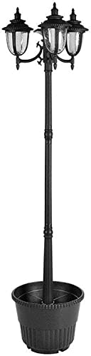 Sun-Ray 312010 Hannah 3-Head Solar LED Lamp Post Planter, Dual Amber White Light Switch, Batteries Included, 7 , Black