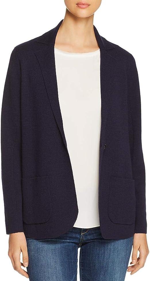 Eileen Fisher Midnight Blue Collar Washable Wool Cardigan Blazer Jacket XS S