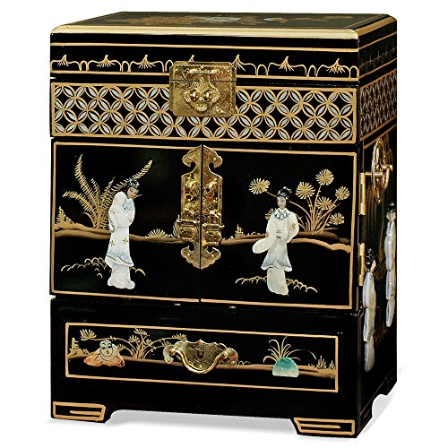 China Furniture Online Black Lacquer Jewelry Box, Hand Painted Scenery Landscape with Maidens Motif Mother Pearl Inlay Chest -